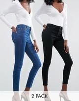 Asos RIDLEY SKINNY JEANS 2 PACK in Black and Kelsey Blue Wash
