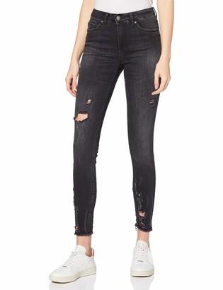 Pieces Women's Pcfive Dellydelux B220 Mw Skn Ankjns Blk Skinny Jeans