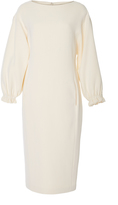 ADAM by Adam Lippes Cotton Crepe Boatneck Dress With Balloon Sleeve