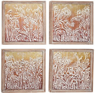 Willow Row Gold & Copper Embossed Metal Wall Decor with Floral & Botanical Designs In Square Wood Frames - Set of 4