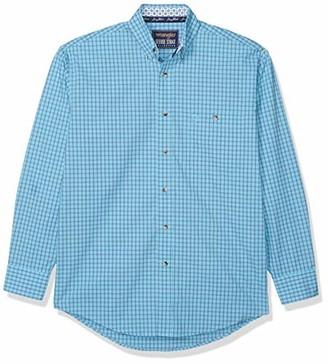 Wrangler Men's Big & Tall Western George Strait One Pocket Button Long Sleeve Woven Shirt