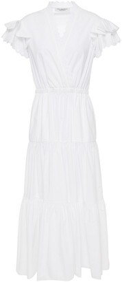 Philosophy di Lorenzo Serafini Wrap-effect Broderie Anglaise-trimmed Cotton Midi Dress