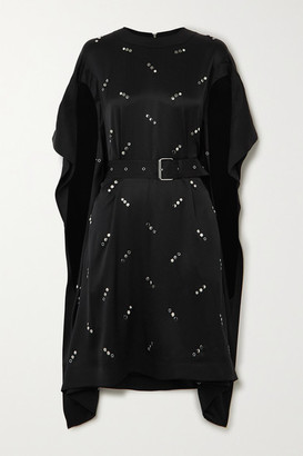 Burberry Belted Embellished Silk-satin Dress - Black