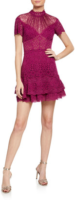 Jonathan Simkhai Multimedia Lace Ruffle Mini Dress
