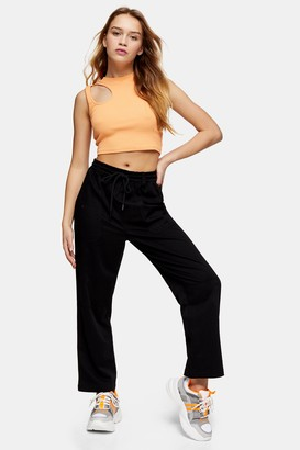 Topshop Womens Petite Black Slouch Trousers - Black