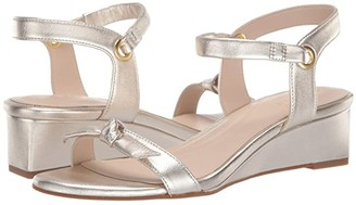 Cole Haan Halsey Wedge Sandal (40 mm) (Gold Metallic Tumbled Leather Brushed Gold) Women's Shoes