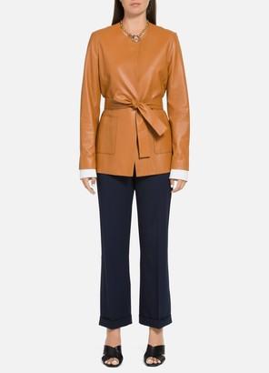 St. John Plonge Leather Wrap Jacket