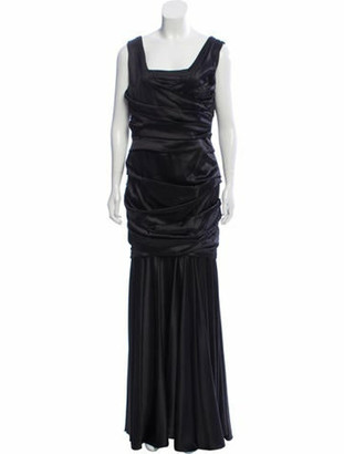 Dolce & Gabbana Pleated Evening Dress Black