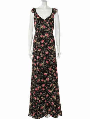 Reformation Floral Print Long Dress Black