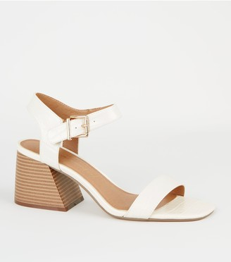 New Look Faux Croc Flared Block Heel Sandals