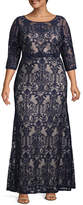 Melrose 3/4 Sleeve Evening Gown-Plus