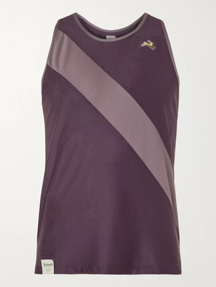 TRACKSMITH - Van Cortlandt Striped Stretch-Mesh Tank Top - Men - Purple