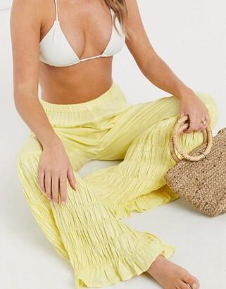 ASOS DESIGN shirred wide leg beach pants in yellow