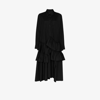 Simone Rocha Tiered cotton maxi shirt dress
