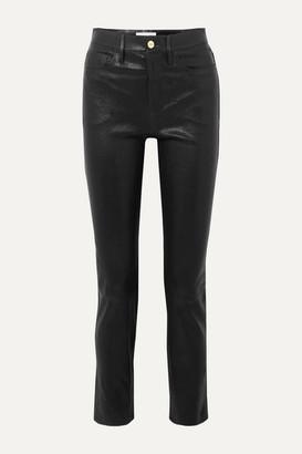Frame Le Sylvie High-rise Slim-leg Leather Pants - Black