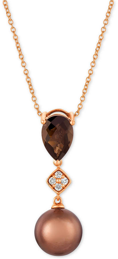 "LeVian Le Vian Chocolate Pearl (9mm), Chocolate Quartz (1-1/4 ct. t.w.) & Diamond Accent 20"" Pendant Necklace in 14k Rose Gold"