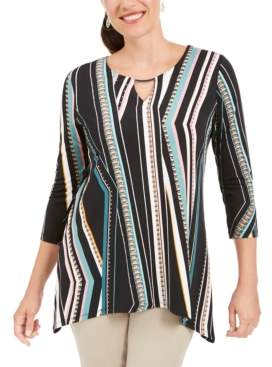 JM Collection Printed Hammerhead Hem Tunic, Created for Macy's