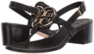 Tory Burch Metal Miller 50 mm Sandal (Perfect Black/Gold) Women's Shoes