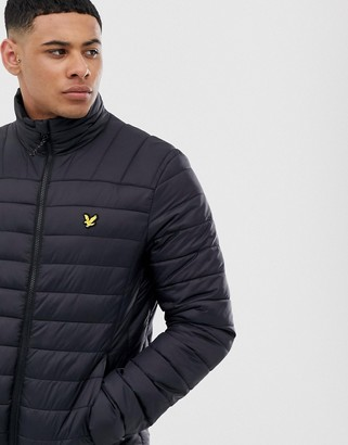 Lyle & Scott Fitness quilted logo puffer jacket in black