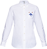 Visvim Long-sleeved bird-embroidery cotton shirt
