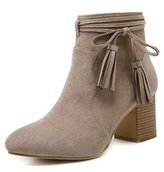 Renly Womens Suede Bowknot Tassels Chunky Heel Ankle Boots