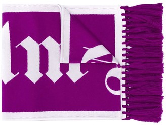 Palm Angels Logo double-face knitted scarf