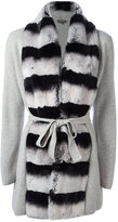 N.Peal cashmere contrast furry cardi-coat - women - Rabbit Fur/Cashmere - S