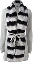 N.Peal cashmere contrast furry cardi-coat