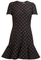 Valentino Go Logo-print Flared-hem Wool-blend Dress - Womens - Black White