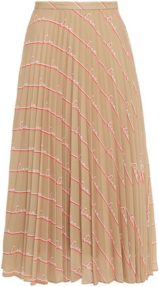 Chinti and Parker Pleated Printed Crepe Midi Skirt