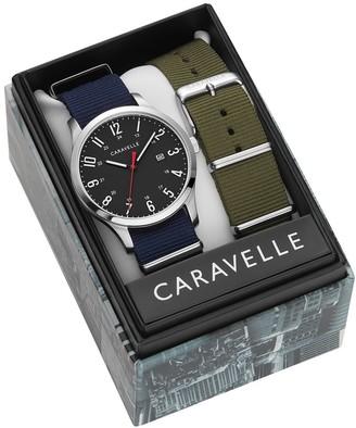 Caravelle Designed by Bulova Men's 43B160 Black Dial Interchangable Nylon Strap Watch