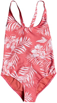 Roxy Kids' Floral Print One-Piece Swimsuit