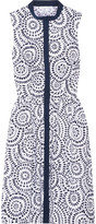 Oscar de la Renta Printed Cotton-blend Poplin Dress - Navy