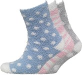 S.O.H.O New York Womens Three Pack Cosy Bed Socks Spot/Stripe Pastel