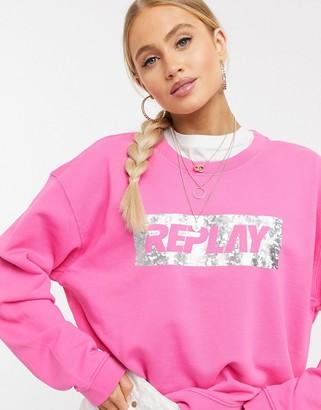 Replay metallic slogan sweater in pink