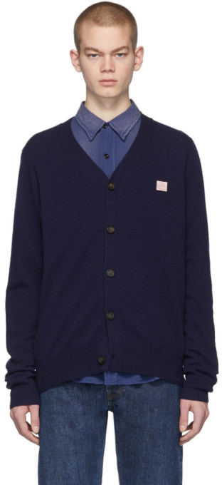 Acne Studios Navy Face Cardigan