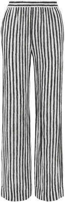 Michael Kors Striped Silk-crepe Wide-leg Pants