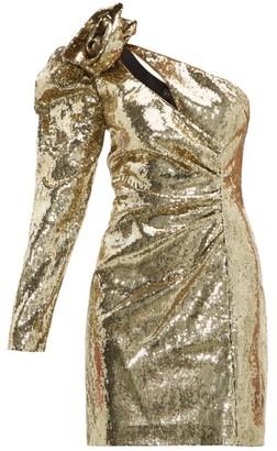 Dundas One Shoulder Sequinned Dress - Womens - Gold
