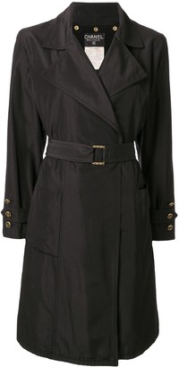Chanel Pre Owned silk belted A-line coat