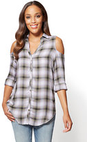 New York & Co. Soho Soft Shirt - Plaid Cold-Shoulder Shirt