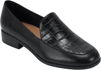 evolve Pip Leather Croc Embossed Loafer