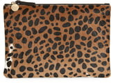 Clare Vivier Leopard Print Genuine Calf Hair Clutch