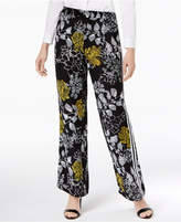 NY Collection Printed Striped Wide-Leg Pants