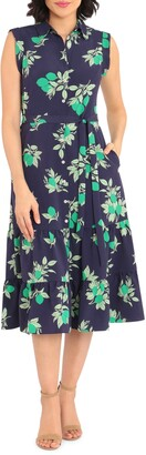 Maggy London Lime Print Collared Ruffle Hem Dress