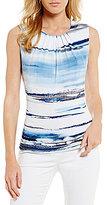 Calvin Klein Petites Watercolor Stripe Matte Jersey Pleat Neck Shell