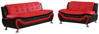 Us Furnishings Emory 2-Piece Sofa and Love Seat Set, Red and Black