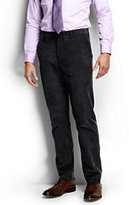 Classic Men's Plain Front Tailored Fit 18-wale Corduroy Dress Pants-Midnight Blue Stripe