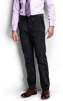 Lands' End Men's Plain Front Tailored Fit 18-wale Corduroy Dress Pants-Medium Indigo Wash