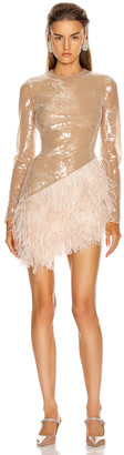 David Koma Feather Trim Sequin Long Sleeve Dress in Beige | FWRD