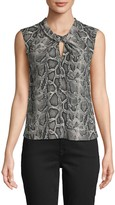 Rebecca Taylor Snakeskin-Print Sleeveless Top